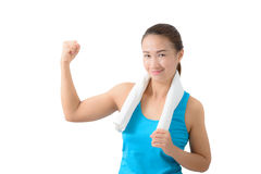 Fitness woman portrait isolated on white background. royalty free stock image