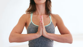 Fitness woman practicing yoga in gym Royalty Free Stock Images