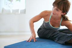 Fitness woman practicing yoga Royalty Free Stock Images