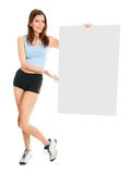 Fitness woman presenting empty placard Stock Image