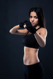 Fitness woman ready to fight Stock Image