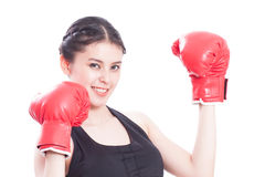 Fitness woman with the red boxing gloves. On a white background Royalty Free Stock Photography