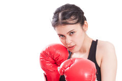 Fitness woman with the red boxing gloves Stock Images