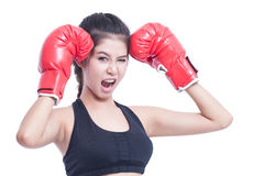 Fitness woman with the red boxing gloves Royalty Free Stock Image