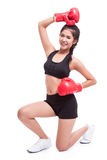Fitness woman with the red boxing gloves Stock Photo