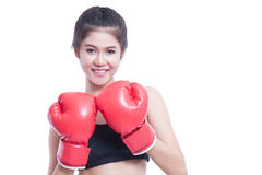 Fitness woman with the red boxing gloves Royalty Free Stock Images
