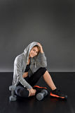 Fitness woman relaxing after working out Royalty Free Stock Photography