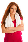 Fitness - woman rest after workout in gym with towel around her Stock Photography