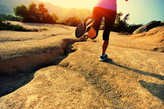Fitness woman runner running on trail Stock Photography