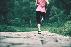 Fitness woman running at forest trail Stock Photography