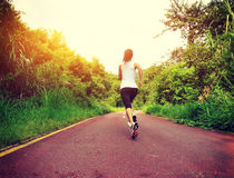 Fitness woman running at forest trail Royalty Free Stock Photography