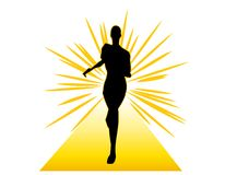Fitness Woman Running on Gold Track Stock Photos
