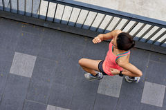 Fitness woman running stock images