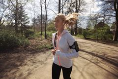Fitness woman running in park Royalty Free Stock Photo