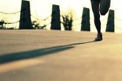 Fitness woman running on sunrise seaside trail Royalty Free Stock Photos