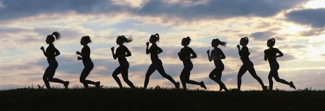Fitness woman running on sunrise, Running silhouettes, Female runner silhouette. Running concept royalty free stock images