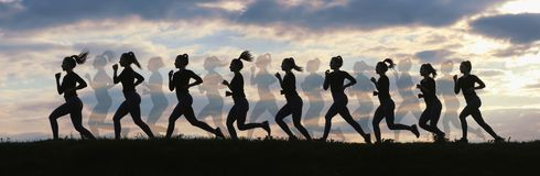 Fitness woman running on sunrise, Running silhouettes, Female runner silhouette. Running concept royalty free stock photos