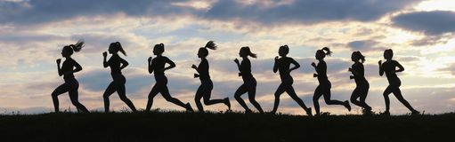 Fitness woman running on sunrise, Running silhouettes, Female runner silhouette. Running concept stock images