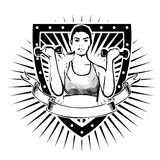 Fitness woman shield Royalty Free Stock Images