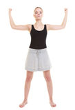 Fitness woman showing energy flexing biceps Royalty Free Stock Image