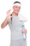 Fitness woman showing ok sign Royalty Free Stock Image