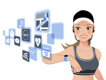 Fitness woman and smart watch device Stock Photography