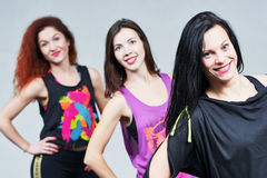 Fitness woman. smiling instructors group portrait Stock Photos