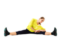 Fitness woman splits. Royalty Free Stock Images
