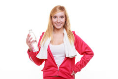 Fitness woman sport girl with towel and water bottle isolated Royalty Free Stock Images