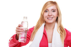 Fitness woman sport girl with towel and water bottle isolated Royalty Free Stock Photography