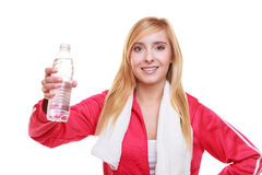 Fitness woman sport girl with towel and water bottle isolated Royalty Free Stock Photos
