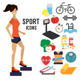 Fitness woman, sport infographic icons. Healthy lifestyle concept. Vector illustration Stock Photo
