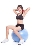 Fitness woman sport training with exercise ball Stock Photos