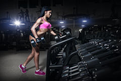 Fitness woman in sport wear with perfect sexy body in gym. Sexy fitness woman in sport wear with perfect fitness body in gym performing back exercises with Royalty Free Stock Images