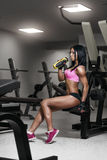 Fitness woman in sport wear with perfect fitness body in gy stock photo