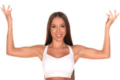 Fitness woman standing against isolated white background Stock Photo