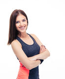 Fitness woman standing with arms folded Royalty Free Stock Photo