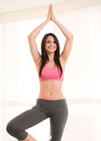 Fitness Woman Standing In Yoga Tree Pose. Young fitness woman smiling while standing in yoga tree pose. Vertical shot Stock Photography