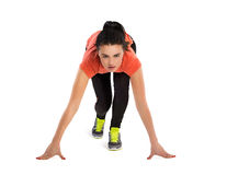 Fitness woman start running, isolated Royalty Free Stock Image