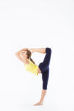 Fitness woman stretching full body isolated Royalty Free Stock Photos
