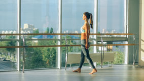 Fitness woman stretching in the gym. Barre Stock Photos