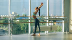 Fitness woman stretching in the gym. Barre Stock Images