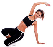 Fitness woman stretching her hand royalty free stock image