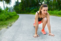 Fitness. Woman Stretching Preparing To Run. Sports, Exercising, Royalty Free Stock Images