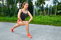 Fitness. Woman Stretching Preparing To Run. Sports, Exercising, Stock Images