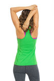 Fitness woman stretching . rear view Stock Images