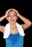 Fitness woman sweating stock photos