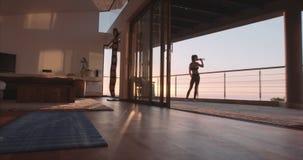Fitness woman taking break from workout stock footage