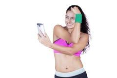 Fitness woman taking self portrait Royalty Free Stock Photo