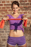 Fitness woman with tape Royalty Free Stock Images